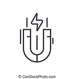 magnet linear icon, sign, symbol, vector on isolated background