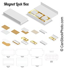 magnet lock rigid box 3d mockup with dieline