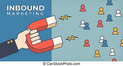 Magnet pulling people for inbound lead generation for digital marketing symbol