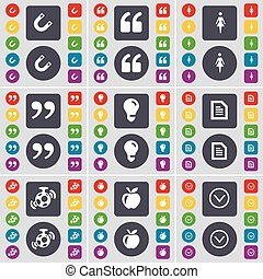 Magnet, Quotation mark, Silhouette, Quotation mark, Light bulb, Text file, Speaker, Apple, Arrow down icon symbol. A large set of flat, colored buttons for your design. Vector