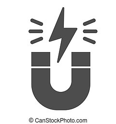 Magnet solid icon. Horseshoe with energy sign, magnetism attraction. Physics subject vector design concept, glyph style pictogram on white background.