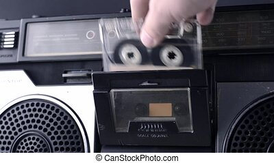 magnet tape cassette start - set magnet tape cassette into...