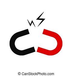 Magnet vector illustration. Red horseshoe magnet, magnetism,...