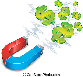 Magnet with dollar - money conceptual illustration, magnet...