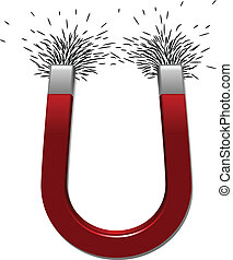 Magnet With Iron Filings - A red horseshoe magnet attracts...