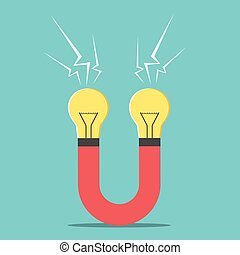 Magnet with light bulbs. Creativity, business success,...