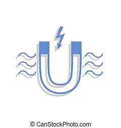 Magnet with magnetic force indication. Vector. Neon blue icon wi
