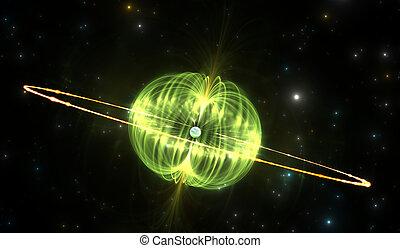 magnetar, oder, neutron stern, mit, äußerst, mächtig,...