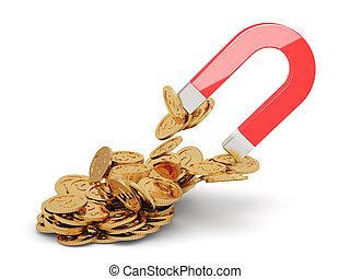magnete, dorato, monete