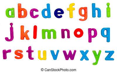 Magnetic alphabet letters - Plastic multicoloured plastic...