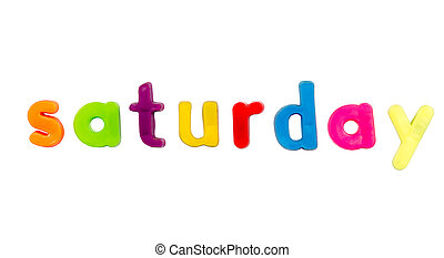 Magnetic alphabet letters - Saturday