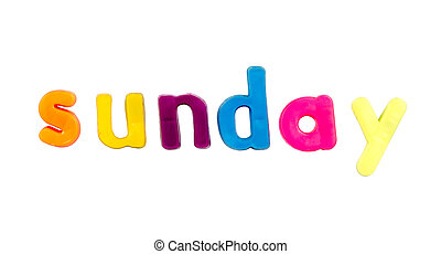 Magnetic alphabet letters - Sunday