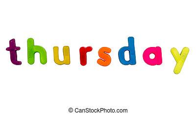 Magnetic alphabet letters - Thursday