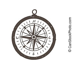 Magnetic compass hand drawn with black contour lines on white background. Tool for navigation and orientation, location finding, tourism and adventure travel. Vector illustration in doodle style.