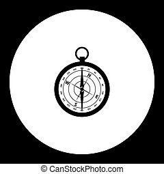 magnetic compass simple black isolated icon eps10