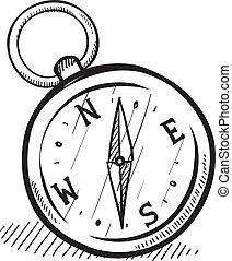 Magnetic compass sketch - Doodle style compass illustration ...