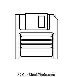 Magnetic diskette icon, outline style