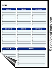 Magnetic Dry Erase Board, Daily Reminders. Vector.