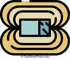 Magnetic field icon. Outline magnetic field vector icon color flat isolated