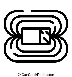 Magnetic field icon. Outline magnetic field icon for web design isolated on white background