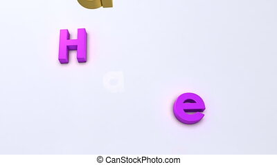 magnetic happy new year - Colorful letter falling down on...