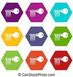 Magnetic key icons set 9