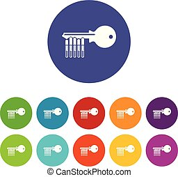 Magnetic key icons set vector color