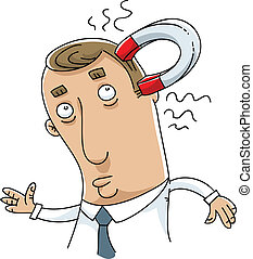 A cartoon magnet attached to a man's head.