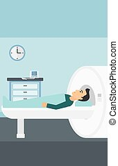 A man undergoes an magnetic resonance imaging scan test in hospital vector flat design illustration. Vertical layout.