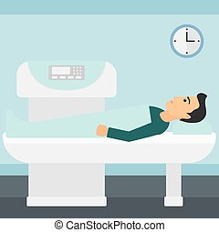 A man undergoes an open magnetic resonance imaging scan procedure in hospital vector flat design illustration. Square layout.