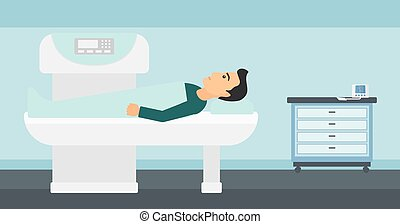 A man undergoes an open magnetic resonance imaging scan procedure in hospital vector flat design illustration. Horizontal layout.