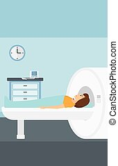 A woman undergoes an magnetic resonance imaging scan test in hospital vector flat design illustration. Vertical layout.