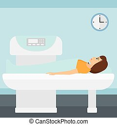 A woman undergoes an open magnetic resonance imaging scan procedure in hospital vector flat design illustration. Square layout.
