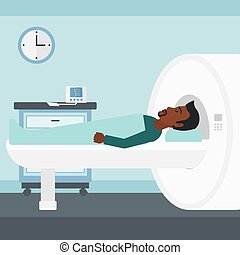 An african-american man undergoes an magnetic resonance imaging scan test in hospital vector flat design illustration. Square layout.