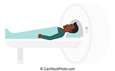 An african-american man undergoes an magnetic resonance imaging scan test vector flat design illustration isolated on white background.