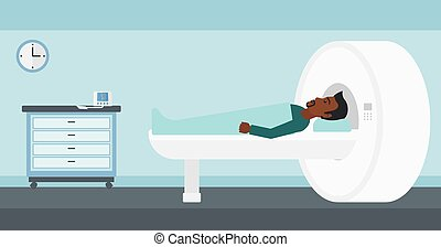 An african-american man undergoes an magnetic resonance imaging scan test in hospital vector flat design illustration. Horizontal layout.