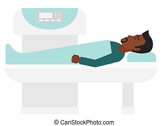 An african-american man undergoes an open magnetic resonance imaging scan procedure vector flat design illustration isolated on white background.