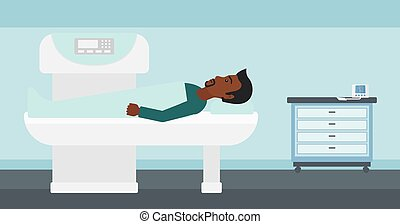 An african-american man undergoes an open magnetic resonance imaging scan procedure in hospital vector flat design illustration. Horizontal layout.
