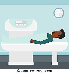 An african-american man undergoes an open magnetic resonance imaging scan procedure in hospital vector flat design illustration. Square layout.