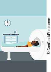 An african-american woman undergoes an magnetic resonance imaging scan test in hospital vector flat design illustration. Vertical layout.