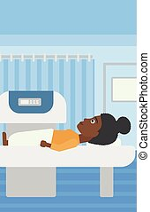 An african-american woman undergoes an open magnetic resonance imaging scan procedure in hospital rooom. Vector flat design illustration. Vertical layout.