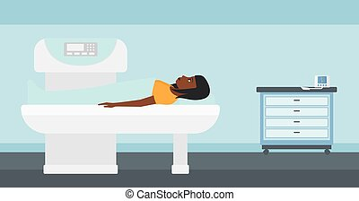 An african-american woman undergoes an open magnetic resonance imaging scan procedure in hospital vector flat design illustration. Horizontal layout.