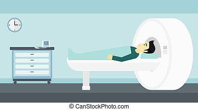 An asian man undergoes an magnetic resonance imaging scan test in hospital vector flat design illustration. Horizontal layout.