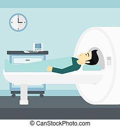 An asian man undergoes an magnetic resonance imaging scan test in hospital vector flat design illustration. Square layout.