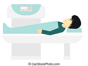 An asian man undergoes an open magnetic resonance imaging scan procedure vector flat design illustration isolated on white background.