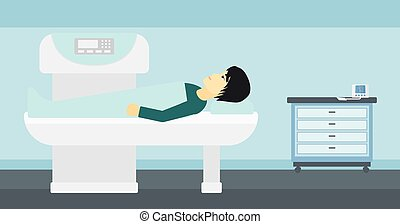 An asian man undergoes an open magnetic resonance imaging scan procedure in hospital vector flat design illustration. Horizontal layout.