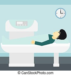 An asian man undergoes an open magnetic resonance imaging scan procedure in hospital vector flat design illustration. Square layout.