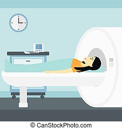 An asian woman undergoes an magnetic resonance imaging scan test in hospital vector flat design illustration. Square layout.