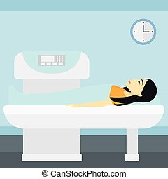 An asian woman undergoes an open magnetic resonance imaging scan procedure in hospital vector flat design illustration. Square layout.