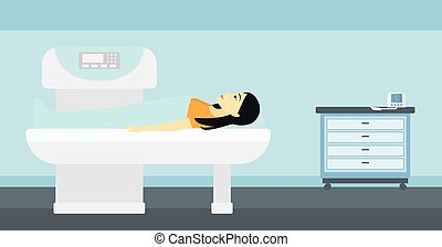 An asian woman undergoes an open magnetic resonance imaging scan procedure in hospital vector flat design illustration. Horizontal layout.